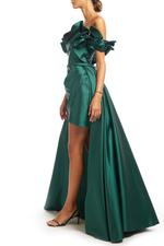 Off-Shoulder Overskirt Satin Taffeta Gown - Green