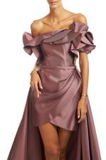 Off-Shoulder Overskirt Satin Taffeta Gown - Rose