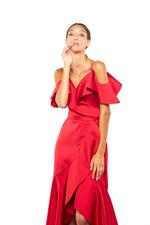 Satin Frilled Gown - Red