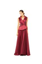 Tailored Beaded Halterneck Gown - Red