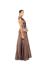 Tailored Beaded Halterneck Gown - Brown