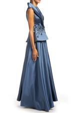 Tailored Beaded Halterneck Gown - Blue
