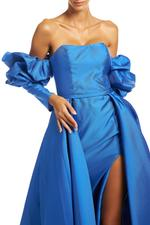 Ruffled Off-Shoulder Satin Taffeta Gown with overskirt - Blue