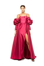 Ruffled Off-Shoulder Satin Taffeta Gown with overskirt - Fuschia