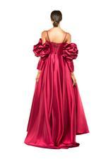 Ruffled Off-Shoulder Satin Taffeta Gown with overskirt - Fuschia