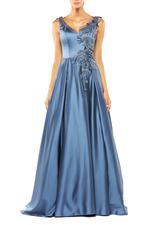 Satin Gown with Beaded Applique - Blue