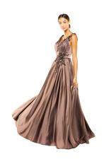 Satin Gown with Beaded Applique - Brown