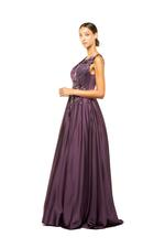 Satin Gown with Beaded Applique - Dark Purple