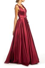 Satin Gown with Beaded Applique - Bordeau