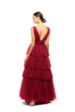 Layered Tulle Gown - Red