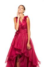 Organza Gown with 3D Flowers & Frills - Red