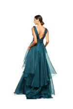 Organza Gown with 3D Flowers & Frills - Blue