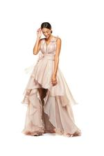 Organza Gown with 3D Flowers & Frills - Peach/Pink