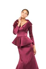 Tailored Satin Long Sleeve Peplum Gown - Red