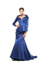 Tailored Satin Long Sleeve Peplum Gown - Blue