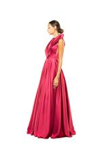 Tailored Satin Halterneck Gown - Red