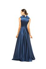 Tailored Satin Halterneck Gown - Blue