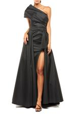 One shoulder Satin Gown - Black