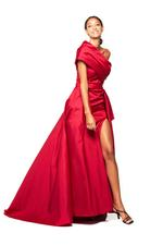 One shoulder Satin Gown - Red