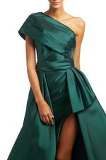 One shoulder Satin Gown - Green