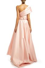 One shoulder Satin Gown - Peach