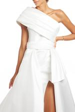 One shoulder Satin Gown - White
