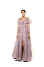 Organza Off-shoulder Gown with Sleeves - Rose