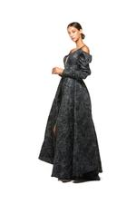 Satin Brocade Gown with Sleeves - Black
