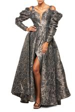 Satin Brocade Gown with Sleeves - Gold