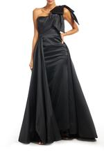 One Shoulder Overskirt Satin Gown - Black