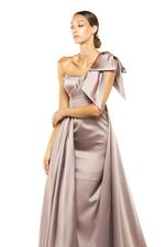 One Shoulder Overskirt Satin Gown - Peach/Pink