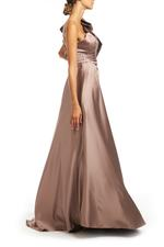 One Shoulder Overskirt Satin Gown - Beige