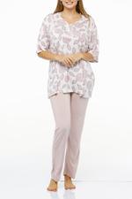 Floral Print Long Pyjama Set - Rose Pink