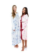 Printed Cotton Nightdress & Robe Set - White/Red