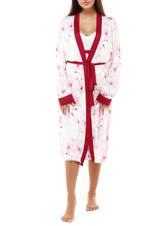 Printed Cotton Nightdress & Robe Set - White/Red