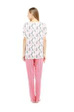 Pineapple & Stripes Long Pyjama Set - Peach