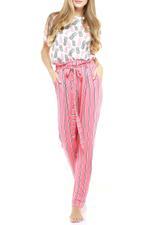 Pineapple & Stripes Long Pyjama Set - Peach