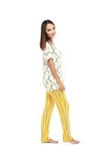 Pineapple & Stripes Long Pyjama Set - Yellow