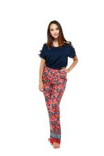 Printed Long Pajama Set - Black/Red