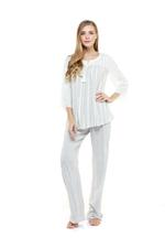 Cotton striped Pyjama Set - Grey/White