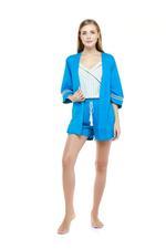 Paisley Print Short Pyjama & Robe Set - Blue