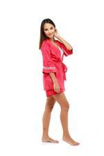 Paisley Print Short Pyjama & Robe Set - Red