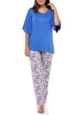 Floral Cotton Long Pyjama Set - Navy