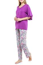 Floral Cotton Long Pyjama Set - Purple