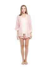 Cotton Short Pyjama & Robe Set - Peach
