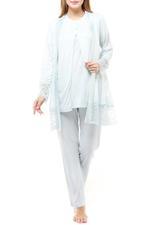 Cotton 3 Piece Pyjama Set with lace details - Blue