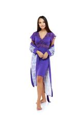 Cotton Midi Length Nightdress & Robe Set - Purple