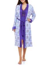 Cotton Midi Length Nightdress & Robe Set - Purple