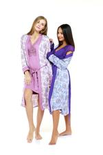 Cotton Midi Length Nightdress & Robe Set - Mauve