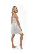 Printed Cotton Nightdress & Robe Set - Beige